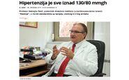 Profesor Nebojša Tasić dao intervju za Večernje novosti i pojasnio šta znače novi standardi u lečenju hipertenzije